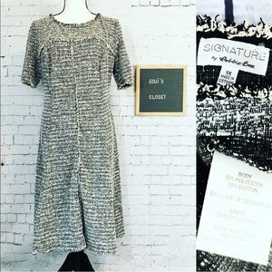 Signature By Robbie Bee knit dress black ivory 1X